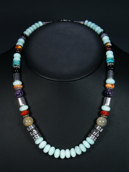 "Blue Agate 21"" Single Strand Bead Necklace"