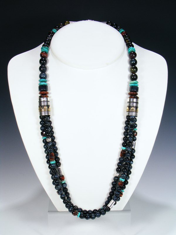 "Tiger Eye and Marble Multi Strand 30"" Beaded Necklace"