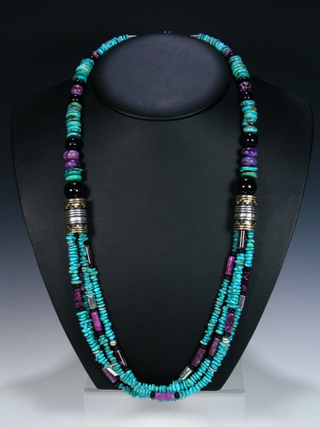 "Turquoise and Dyed Jasper Multi Strand 30"" Beaded Necklace"