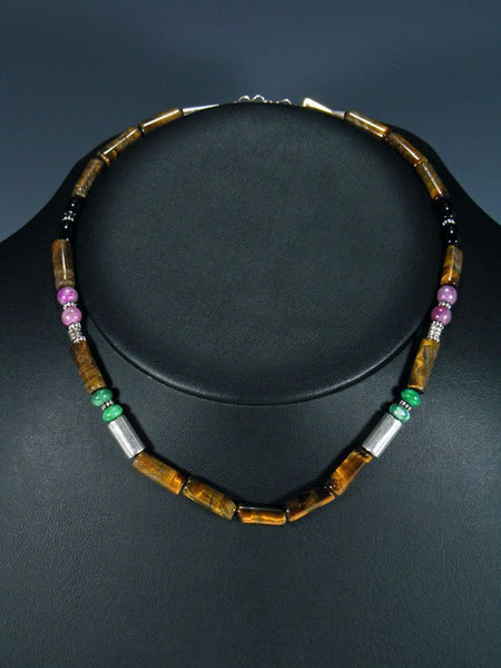 "16"" Tiger Eye Beaded Single Strand Necklace"