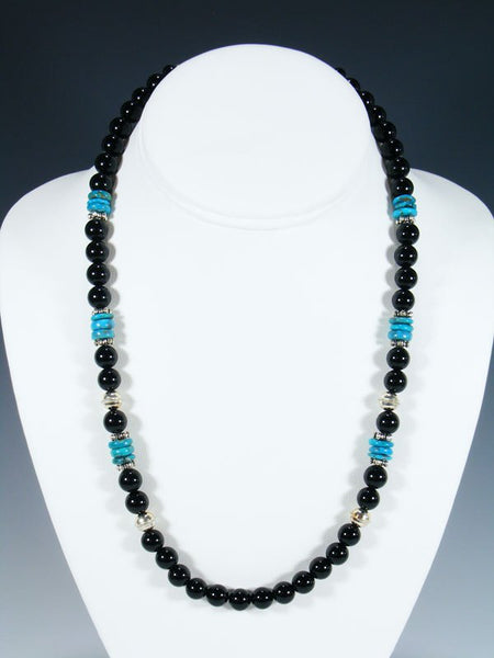 "Black Onyx 20"" Single Strand Beaded Necklace"