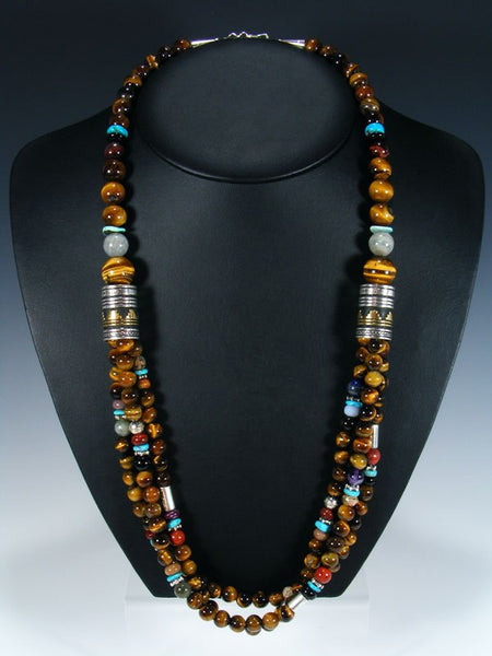 "Tiger Eye and Turquoise Multi Strand 30"" Beaded Necklace"