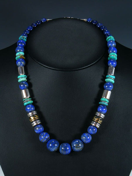 "21"" Lapis Large Single Strand Beaded Necklace"