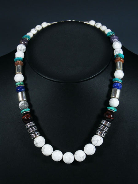 "White Marble 21"" Single Strand Bead Necklace"