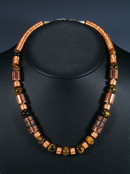 "Tiger Eye and Copper 21"" Single Strand Bead Necklace"