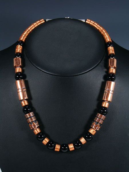 "Onyx and Copper 21"" Single Strand Bead Necklace"