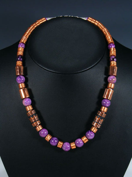 "Dyed Jasper and Copper 21"" Single Strand Bead Necklace"