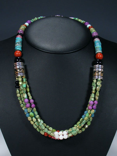 "24"" Green Turquoise Multi Strand Bead Necklace"