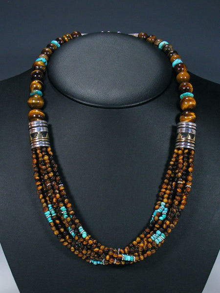"24"" Tiger's Eye and Turquoise Multi Strand Bead Necklace"