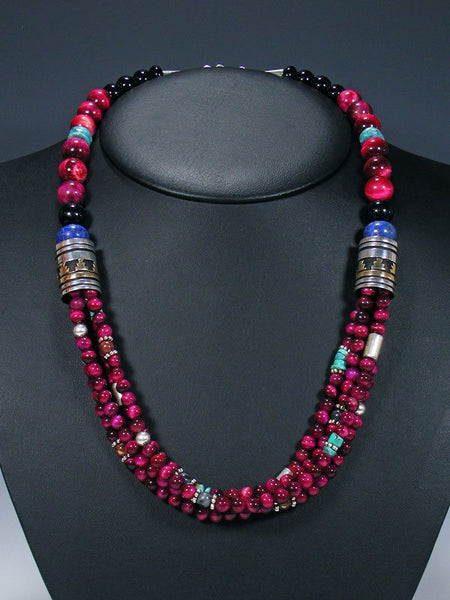"24"" Dyed Tiger's Eye and Turquoise Multi Strand Bead Necklace"