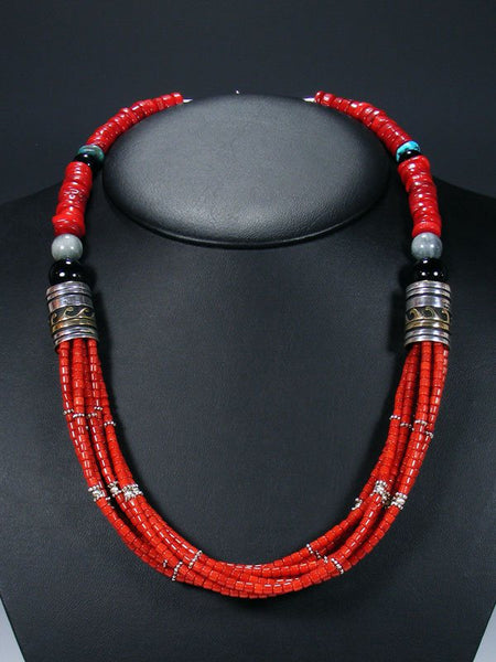 "24"" Dyed Bamboo Coral and Turquoise Multi Strand Bead Necklace"