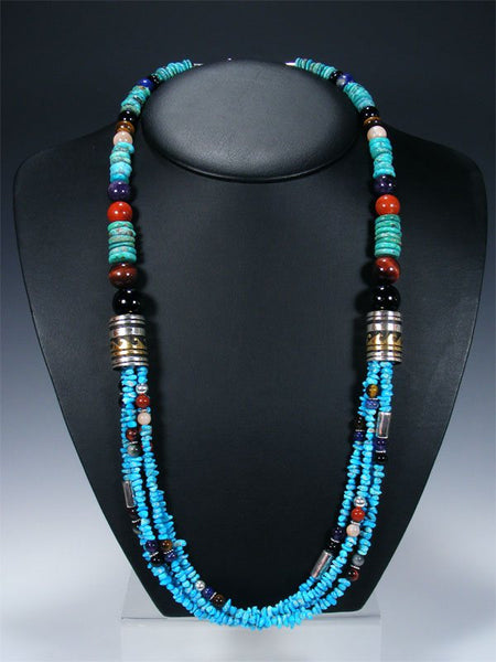 "30"" Turquoise Multi Strand Beaded Necklace"