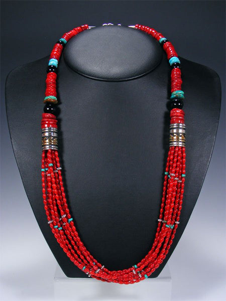 Coral and Lapis Multi Strand Beaded Necklace