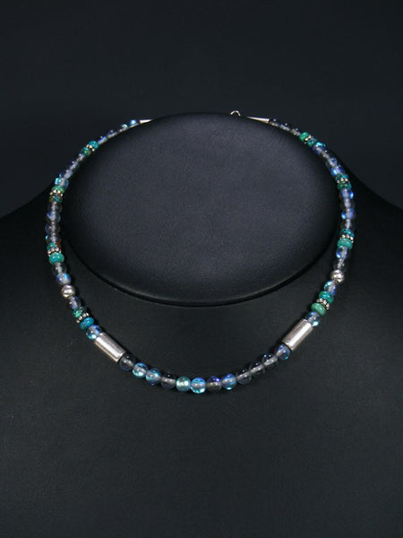 "Cats Eye Glass 16"" Single Strand Bead Choker Necklace"