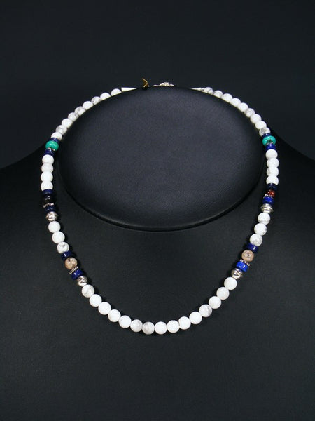 "White Marble and Turquoise 18"" Single Strand Choker Bead Necklace"