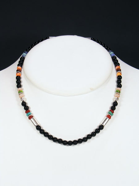 "Black Onyx 18"" Single Strand Choker Bead Necklace"