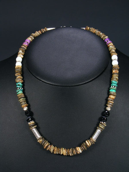 "Abalone and Turquoise 20"" Single Strand Choker Necklace"