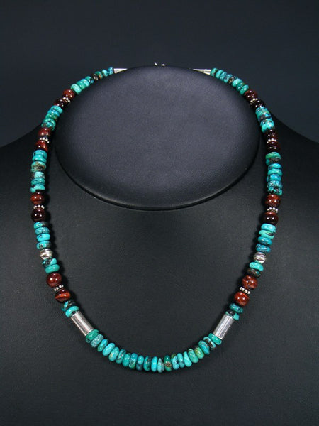 "Tiger Eye and Turquoise 20"" Single Strand Choker Necklace"