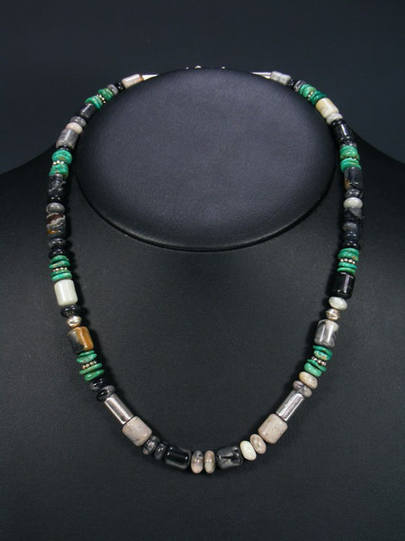 "Picasso Marble and Turquoise 20"" Single Strand Choker Necklace"