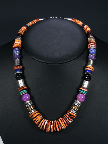 "Spiny Oyster and Lapis 21"" Single Strand Bead Necklace"