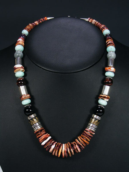 "Spiny Oyster and Black Onyx 21"" Single Strand Bead Necklace"