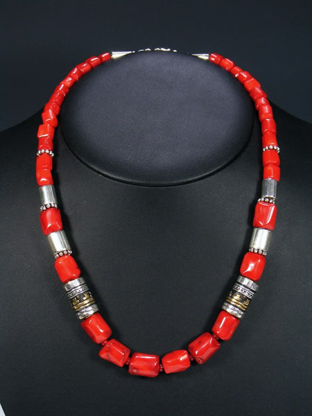 "Red Coral 21"" Single Strand Bead Necklace"