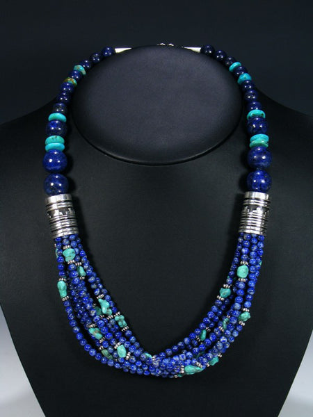 Lapis Gemstone 24 Inch Multi Strand Beaded Necklace