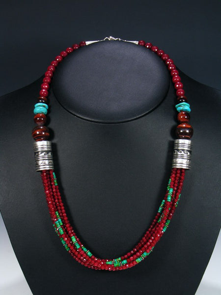 Garnet and Turquoise Multi Strand 24 Inch Beaded Necklace