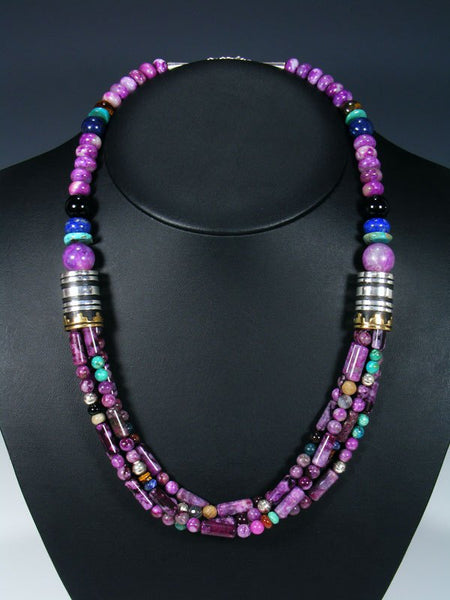 Purple Jasper and Turquoise Multi Strand Bead Necklace