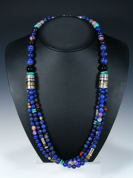 Lapis and Turquoise Multi Strand Beaded Necklace