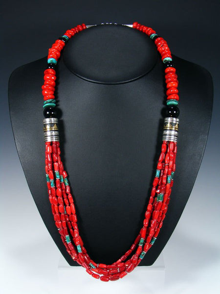 Coral and Onyx Multi Strand Beaded Necklace