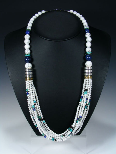 "White Marble and Turquoise Multi-Strand 30"" Necklace"