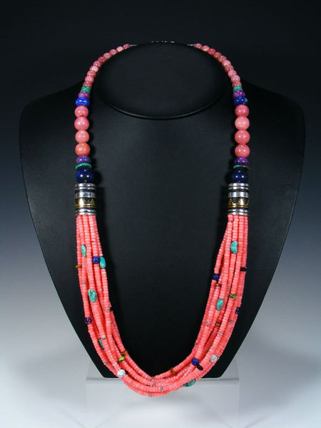 Pink Coral and Turquoise Multi Strand Beaded Necklace