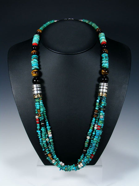 "Bamboo Coral and Turquoise Multi-Strand 30"" Necklace"