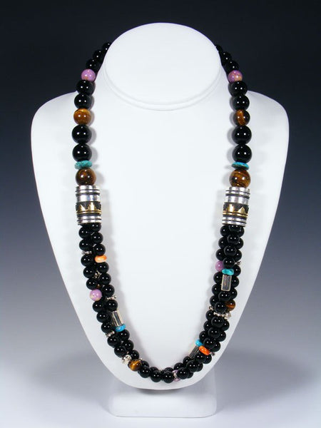 Black Onyx and Turquoise Multi Strand Bead Necklace