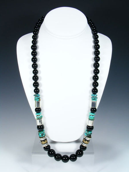 "Onyx Long Single Strand 28"" Beaded Necklace"