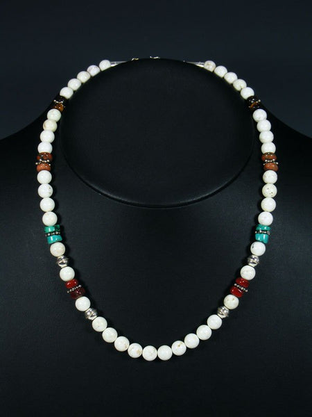 "20"" Single Strand Beaded White Marble and Turquoise Necklace"