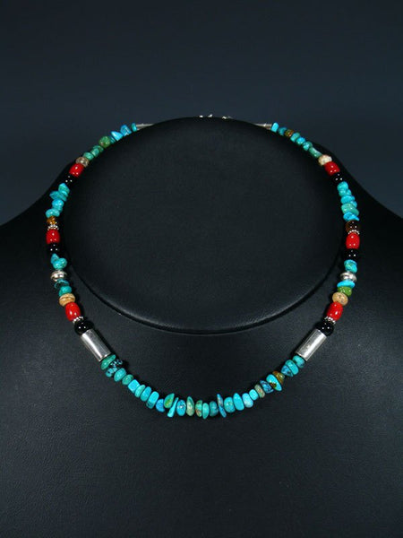 "16"" Turquoise and Coral Single Strand Beaded Necklace"