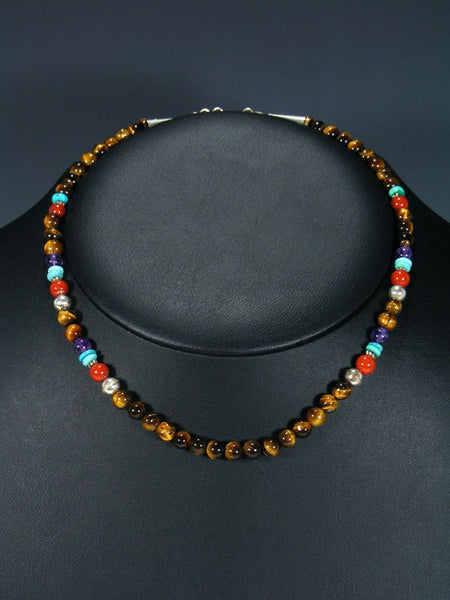 Tiger Eye Beaded Single Strand Necklace