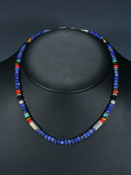 "18"" Lapis Single Strand Beaded Necklace"