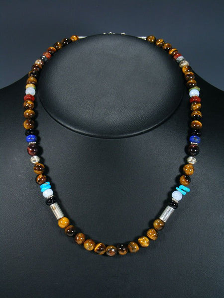 "20"" Single Strand Beaded Tiger Eye Necklace"