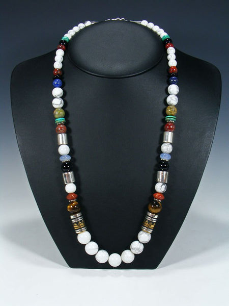 "White Marble Single Strand Bead 28"" Necklace"