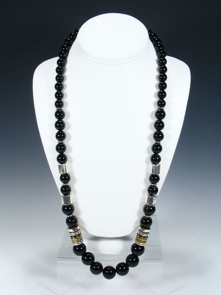 "Black Onyx Single Strand Bead 28"" Necklace"