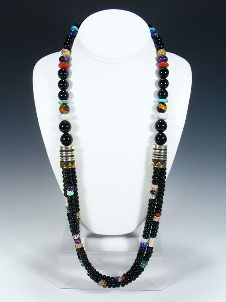 "Black Onyx Multi Strand 30"" Beaded Necklace"