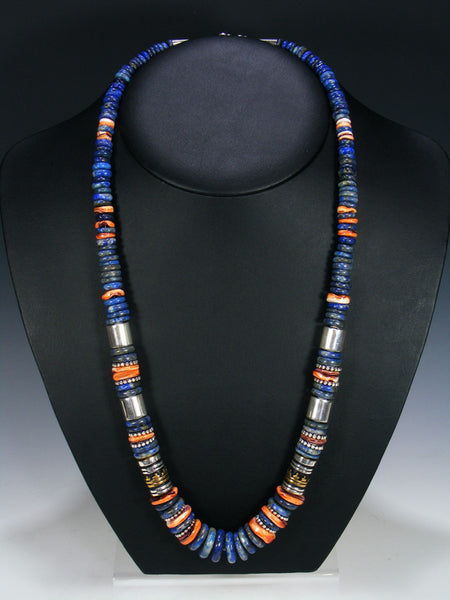 "Lapis and Spiny Oyster 28"" Single Strand Necklace"