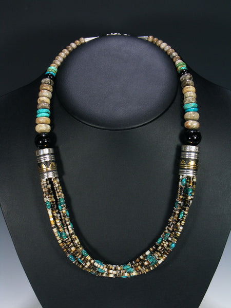"Shell Heishi and Turquoise 24"" Multi Strand Bead Necklace"