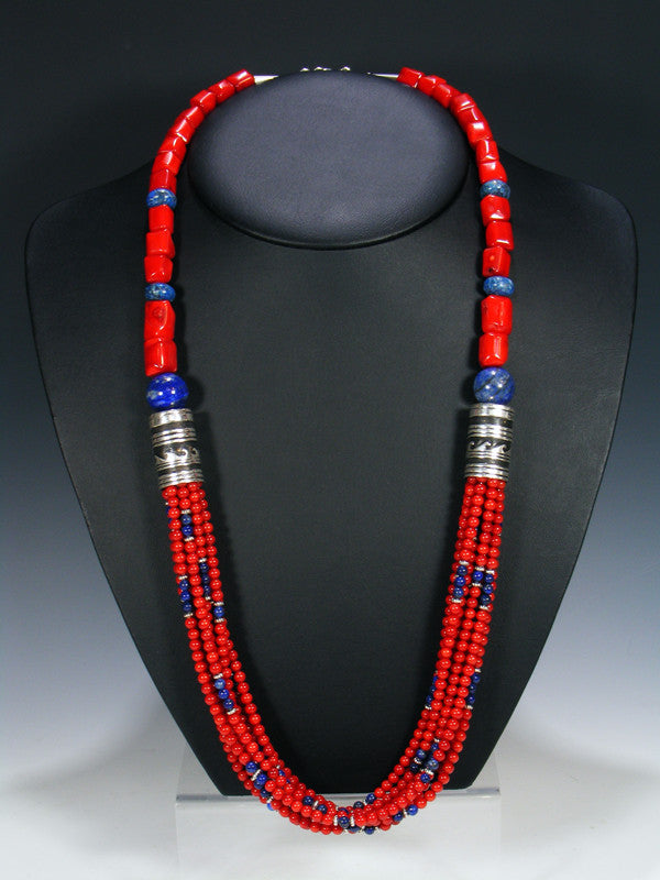 Coral and Lapis Multistrand Beaded Necklace