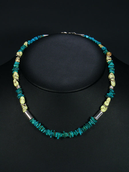 "Turquoise and Gaspeite 18"" Single Strand Bead Choker Necklace"