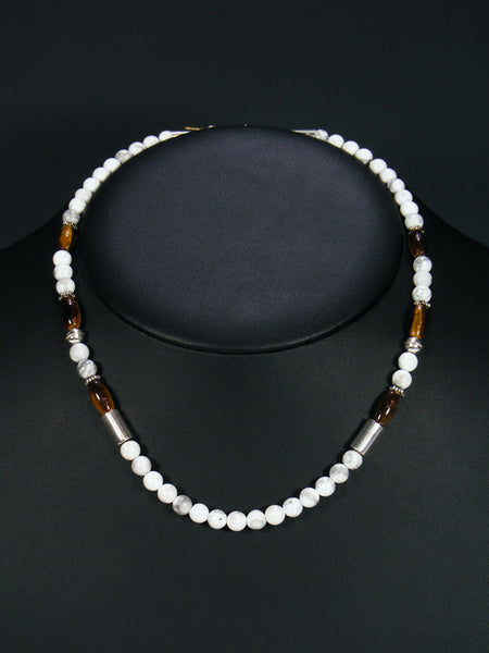 "White Buffalo and Tiger Eye 18"" Single Strand Choker Bead Necklace"