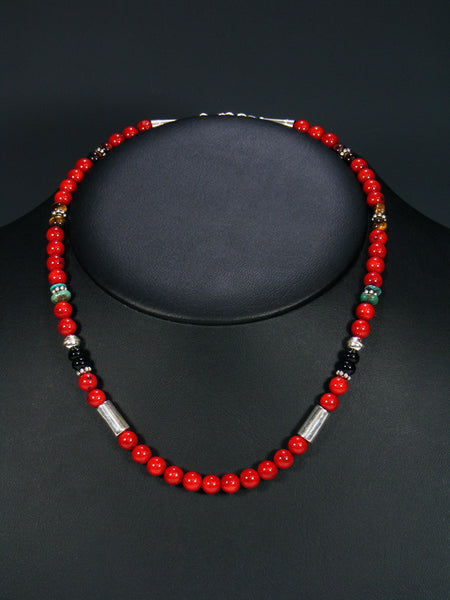 "Coral and Tiger Eye 18"" Single Strand Choker Bead Necklace"
